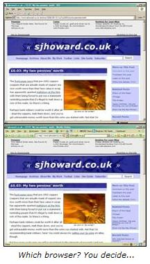 sjhoward.co.uk in IE and Firefox